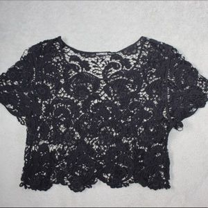 Black Lace Express Cropped Shirt
